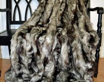"Gray Faux Fur Blanket, Faux Fur Throw, Gray Fox Blanket Throw, Rabbit Fur Throw, Fake Fur Throw,  58"" x 72"""