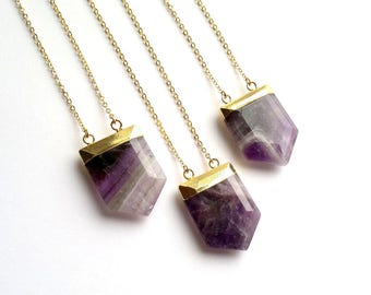 Amethyst Necklace Gold Amethyst Pendant Necklace Purple Stone Necklace Amethyst Jewelry Gold Purple Boho Stone Shield Mineral Necklace