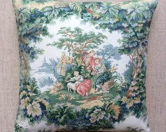 "Vintage Sanderson Fabric Cushion Pastoral Scene ""Arbour""40cmx40cm With Interior"