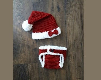 Baby santa hat and diaper cover, baby girl gift, baby hat, crochet baby hat, baby girl newborn picture, christmas baby, newborn photo prop