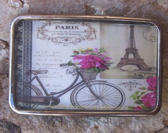belt buckle bicycle belt buckle French accessories Eiffel Tower Paris Pink flowers silver resin Belt buckle women's  belt buckle