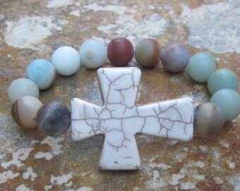 Cross bracelet amazonite stone bracelet bohemian bracelet women's boho stretch stacking boho religious bracelet mens mala bracelet