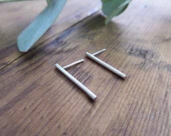 Silver Line Stud Earring, Sterling Silver Bar Earrings,  Gold Line Stud , Minimal Modern Handmade Jewelry