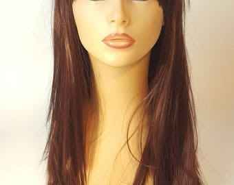 Long Brunette Wig With Bangs 41