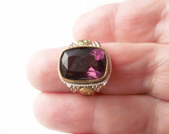 6 Carat Amethyst Gemstone Ring, Art Deco Wedding Style, Promise Ring For Her, Birthday Gift, Sterling Silver, Gift For Grandmother