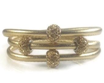 Lederarmband damen zum wickeln mit strass  Gold Leder Armreif Silberarmband Damen Leder Armband