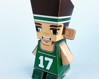 Make your own GREEN Basketball paper toy - D.I.Y. craft activity kit. Great gift for kids and crafters - DIGITAL DOWNLOAD