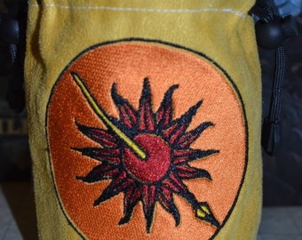 Dice Bag game of thrones Martell Embroidery Gray Suede