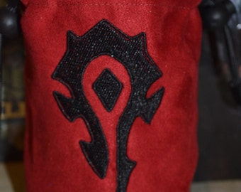 Dice Bag Hord symbol World of Warcraft Embroidery on Blue Suede