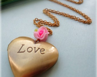 Love Heart Locket - Antique Gold Tone,  Store Your Own Photo