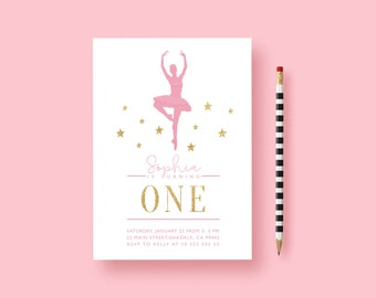 Pink First Birthday Invitation, Ballerina Birthday, Ballerina Invitation, Glitter Invitation, Ballerina Party, Pink Gold Ballerina