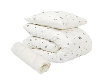 Baby Bedding, Crib Bedding, Modern Nursery White Stars Gender Neutral 3PC Bedding Set, Baby Bedding Set, Gift for Toddler, Nursery Set