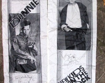 2  NKOTB New Kids On The Block vintage 1990 fabric JOE and DONNIE banners with  screened ink images and  signatures 22 by 66 inches
