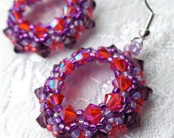 Pink purple crystal bright hoop earrings, Boho earrings, Beaded hoops with Swarovski crystals, Ethnic earrings, Statement earrings