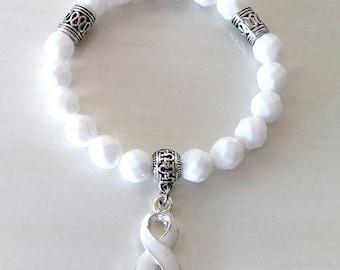 White Awareness Ribbon Infinity Glass Beaded Stretch Bracelet