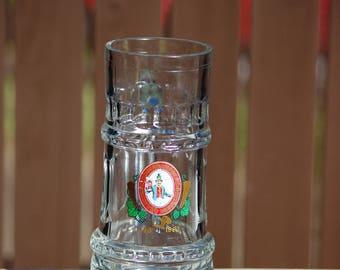 Steins, Vintage Glass Beer Stein Germany, Postbrauerei Karl Meyer, Nesselwang, 1883-1983, Unique Shape, 16 Oz, Beer Mug, Water Glass