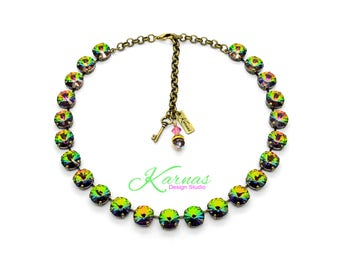 CRYSTAL VITRAIL MEDIUM 12mm Necklace Made With Swarovski Crystal *Pick Your Finish *Karnas Design Studio *Free Freight*