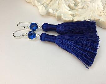 Sapphire Swarovski Silk Tassel Earrings