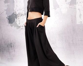 Pants, Black pants, wide skirt pants, 7/8 wide pants, ankle length pants by UrbanMood - UM-067-VL
