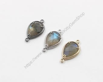 20mm Faceted Labradorite Connectors -- With Electroplated Gold Edge Charms Wholesale Supplies YHA-294-16