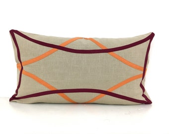 Tan Linen Pillow Cover with Orange and Burgundy Accents