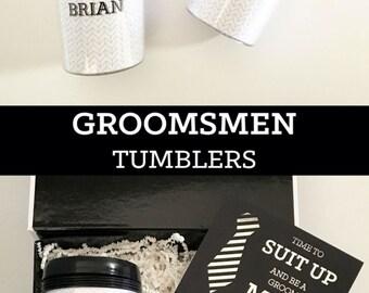 Travel Mug for Him Groomsmen Gift Ideas Personalized Coffee Mugs for Men Groomsmen Tumbler Mens Travel Mug Best Man Gift (EB3135GM)