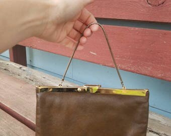 Vintage ETRA Leather Clutch Small Handbag Purse Brown Retro Minimal Brass Clasp