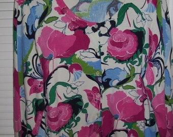Vintage Talbot's Spring Hot Pink Floral Cardigan Sweater XL  see details