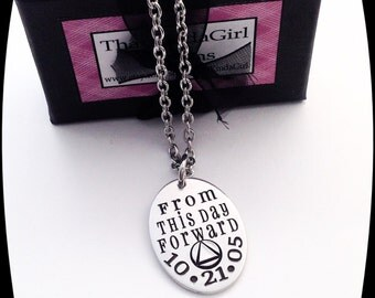 Sobriety Gift, From This Day Forward, Sobriety Jewelry, Addiction Recovery, Milestone Necklace, Sobriety Date, AA gift, NA gift