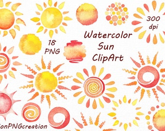 Watercolor Sun Clipart, digital sun clip art, watercolour, digital clipart, invitation, PNG, For Personal and Commercial Use