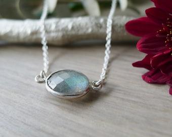 Sterling Silver, Labradorite Necklace, Simple Gemstone, Genuine Labradorite, Simple Labradorite, Minimalist Labradorite, Geometric Necklace