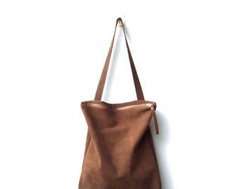 Brown suede bag,Brown zipper suede tote,Brown suede shoulder bag,Brown leather bag