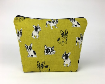 Makeup bag, French bulldog makeup bag,  Cosmetic bag, Toiletry bag,  Project bag, Zipper pouch, French bulldog, Frenchie
