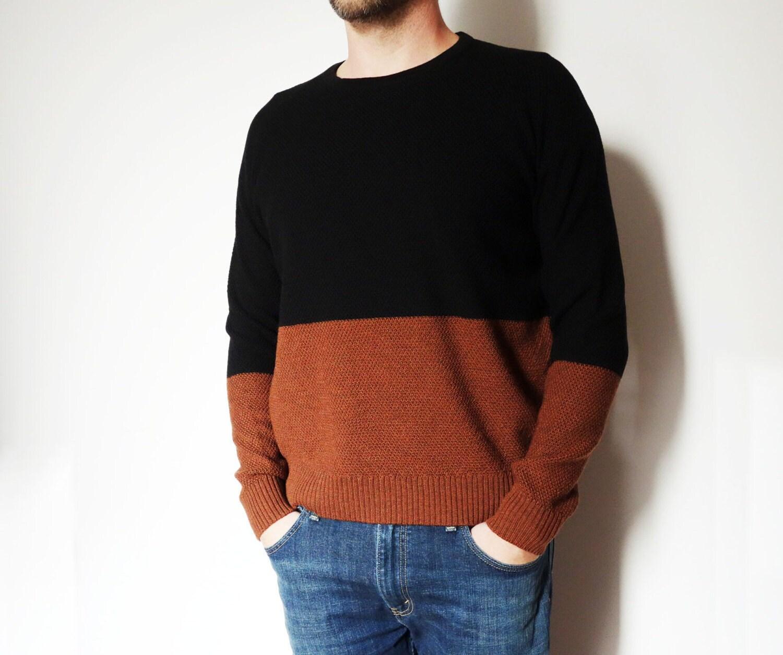 Knitted 100% merino wool sweater men wool sweater raglan