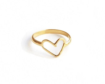 Gold Heart Stacking Ring, Gold Plated Minimalist Ring, Dainty Heart Ring, Gold Love Ring.