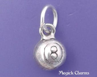 EIGHT BALL Charm .925 Sterling Silver Pool Game, Billiards Miniature Small - lp3482