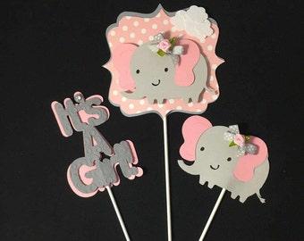 Elephant Centerpieces stick / It's a girl/ Pink and Gray/ Elephant theme/ Elephant Shape/  Elephant baby shower