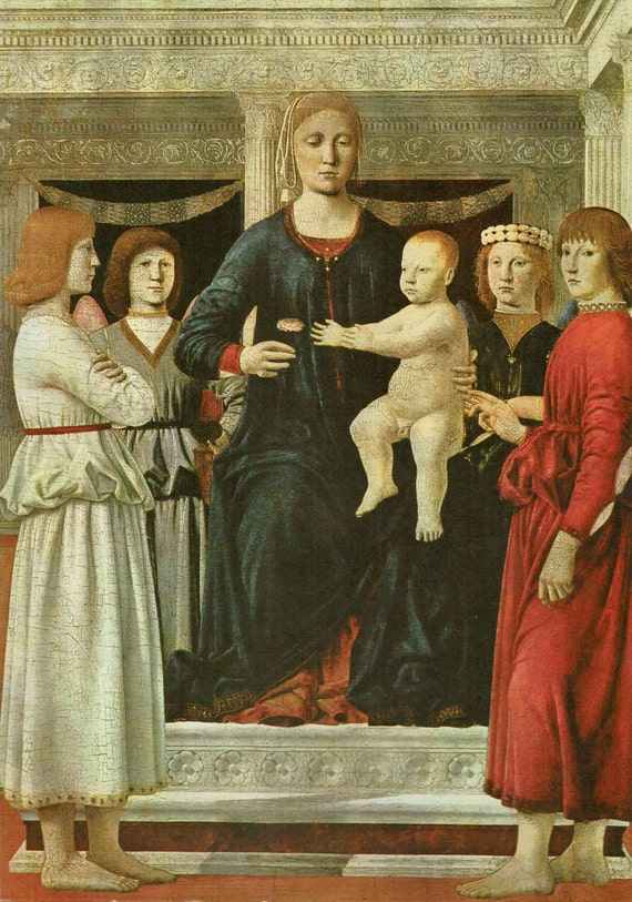Vintage 1966 print of Madonna and Child and Angels, painted by Della Francesca, 15th century, beautiful details, matted & mounted, 11 x 14