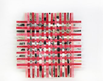 Red Paper Weaving- Crossword Puzzles- Handwoven Paper Art- Original Mixed Media- 8x8- Red, Pink, Black, White