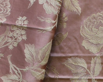 1930s-40s Cotton Rayon Damask Fabric Roses Pink Tan - B8