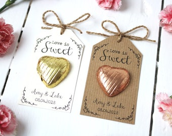 Wedding favours etsy uk love is sweet chocolate heart wedding favour junglespirit Image collections