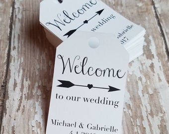 Mini Welcome to our wedding tag, Wedding Tag, Wedding Shower Tag, Welcome Tag, Gift Tag, Tag with Arrow, Heart Arrow  (030)