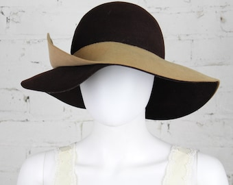 1970s Frank Olive Big floppy hat Brown Tan double brim wide 30s inspired