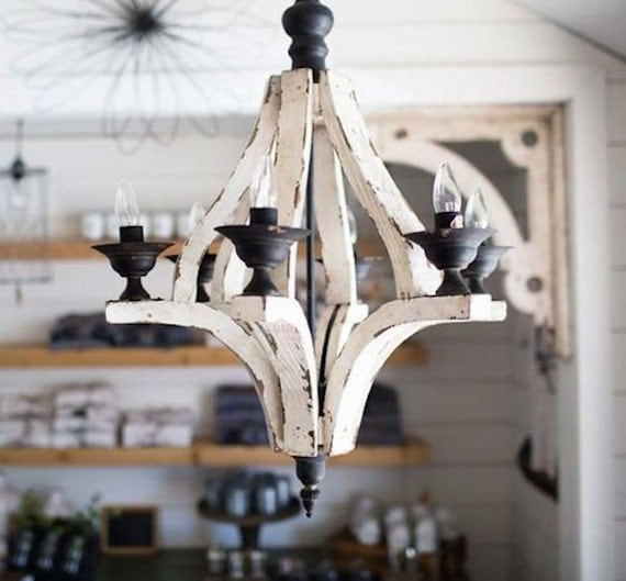Distressed Wood Chandelier: Antiqued White Cottage Distressed 6 Arm Large