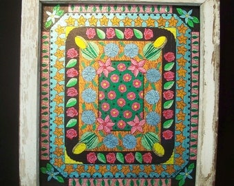 Window Frame Kaleidoscope with Flowers Gum and Candy Wrapper Original Art