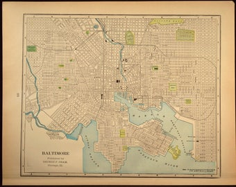 Baltimore Map Baltimore Street Map Early 1900s Maryland