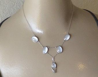 Vintage Sterling  Moonstone Necklace.