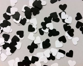 Heart Confetti - Tiny Hearts - Black and White Hearts - 50th Birthday - Wedding Confetti - Birthday Confetti - Baby Shower - Bridal Shower