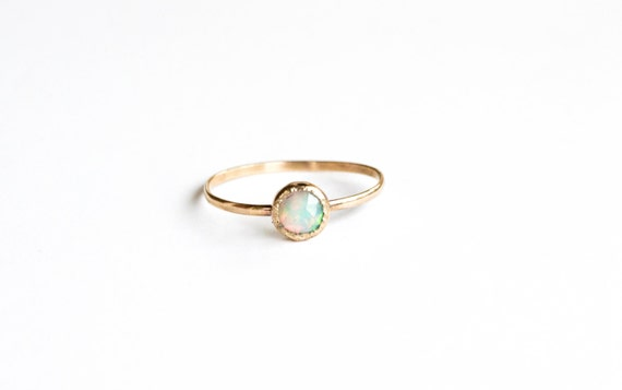 14k gold opal engagement ring, rose cut opal gold ring, rose cut opal stacking gold ring