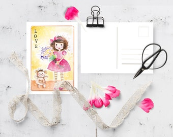 Birthday card • Digital • Illustration • Love_04 • watercolor Greeting card Instant download